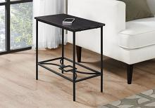 "Accent Table - 22""H / Cappuccino / Black Metal"