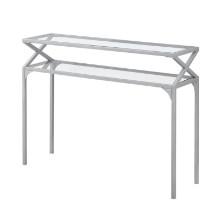 "ACCENT TABLE - 42""L SILVER METAL HALL CONSOLE"