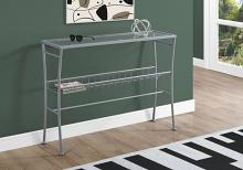 "Accent Table - 42""L / Silver /Tempered Glass Hall Console"