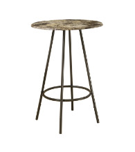 "HOME BAR - 30""DIA CAPPUCCINO MARBLE COFFEE METAL"