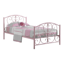 BED - TWIN SIZE PINK METAL FRAME ONLY