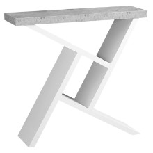 "ACCENT TABLE - 36""L WHITE CEMENT-LOOK HALL CONSOLE"