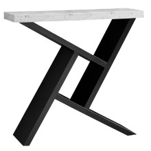 "Accent Table - 36""L / Black / Cement-Look Hall Console"