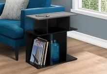"Accent Table - 24""H / Black / Grey Top"