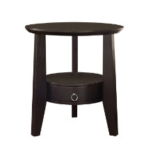 "Accent Table - 23""Dia / Cappuccino With 1 Drawer"