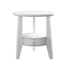 "Accent Table - 23""Dia / White With 1 Drawer"