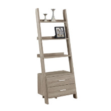 "Bookcase - 69""H / Dark Taupe Ladder W/ 2 Storage Drawers"