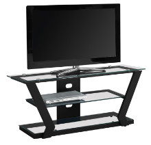 "TV STAND - 48""L BLACK METAL WITH TEMPERED GLASS"