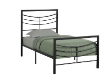 BED - TWIN SIZE BLACK METAL FRAME ONLY