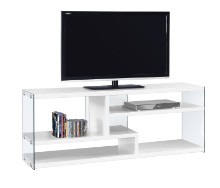 """TV STAND - 60""""L GLOSSY WHITE WITH TEMPERED GLASS"""