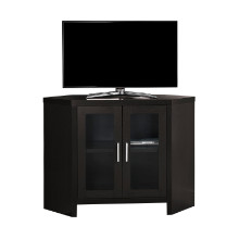 "TV STAND - 42""L CAPPUCCINO CORNER WITH GLASS DOORS"