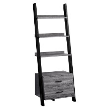 "BOOKCASE - 69""H GREY-BLACK LADDER WITH 2 STORAGE DRAWER"