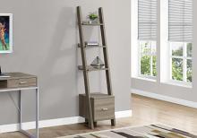 "Bookcase - 69""H / Dark Taupe Corner Etagere W/ Drawer"