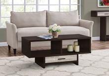 COFFEE TABLE - ESPRESSO / TAUPE RECLAIMED WOOD-LOOK