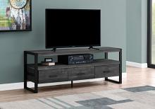"Tv Stand - 60""L / Black Reclaimed Wood-Look / 3 Drawers"