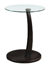 ACCENT TABLE - ESPRESSO BENTWOOD WITH TEMPERED GLASS