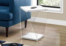 "Accent Table - 22""H / Glossy White / Clear Acrylic"