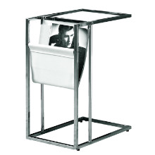 ACCENT TABLE - WHITE CHROME METAL WITH A MAGAZINE RACK