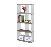 """BOOKCASE - 60""""H / DARK TAUPE WITH TEMPERED GLASS"""