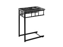 ACCENT TABLE - GREY MARBLE CHARCOAL METAL