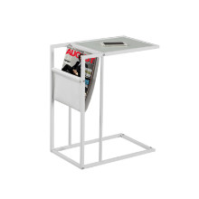 Accent Table - White / White Metal With A Magazine Rack