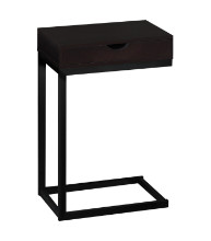 ACCENT TABLE - ESPRESSO / BLACK METAL WITH A DRAWER