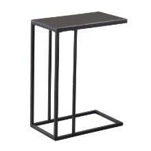 ACCENT TABLE - BLACK METAL BLACK TEMPERED GLASS