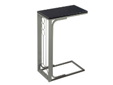 ACCENT TABLE - CAPPUCCINO TOP CHAMPAGNE METAL