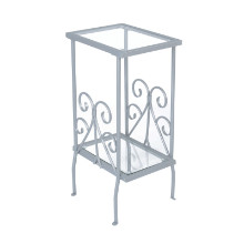 "ACCENT TABLE - 30""H SILVER METAL WITH TEMPERED GLASS"