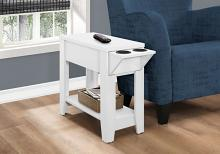 "Accent Table - 23""H / White With A Glass Holder"