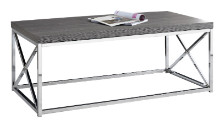COFFEE TABLE - GREY WITH CHROME METAL