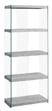 "Bookcase - 60""H / Grey Cement With Tempered Glass"