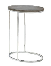 ACCENT TABLE - OVAL DARK TAUPE WITH CHROME METAL