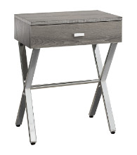 "Accent Table - 24""H / Dark Taupe / Chrome Metal"