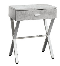 "ACCENT TABLE - 24""H GREY CEMENT CHROME METAL"