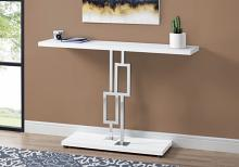 "Accent Table - 48""L / Glossy White / Chrome Metal"