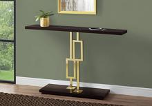 "Accent Table - 48""L / Cappuccino / Gold Metal"