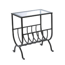 ACCENT TABLE - STARDUST BROWN METAL WITH TEMPERED GLASS