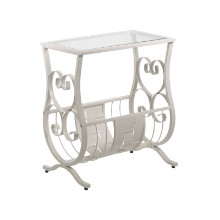 ACCENT TABLE - ANTIQUE WHITE METAL WITH TEMPERED GLASS