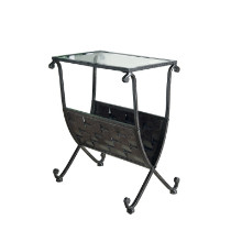 Accent Table - Black / Taupe Mix Metal W/ Tempered Glass