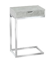Accent Table - Chrome Metal / Grey Cement With A Drawer
