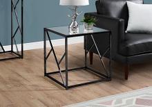 End Table - Black Nickel Metal / Mirror Top