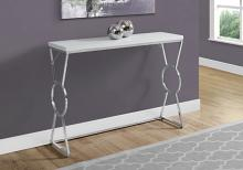 "Accent Table - 42""L / Glossy White / Chrome Metal"