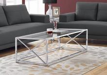 "Coffee Table - 44""L / Chrome Metal With Tempered Glass"