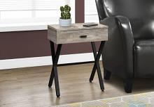 "Accent Table - 24""H / Taupe Reclaimed Wood / Black Metal"