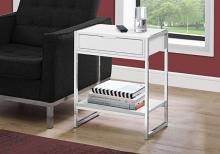 "Accent Table - 24""H / Glossy White / Chrome Metal"