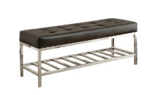 "BENCH - 48""L BLACK LEATHER-LOOK CHROME METAL"