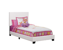 BED - TWIN SIZE WHITE LEATHER-LOOK
