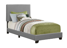 BED - TWIN SIZE / GREY LEATHER-LOOK