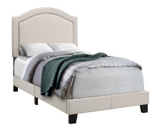 BED - TWIN SIZE / BEIGE LINEN WITH ANTIQUE BRASS TRIM